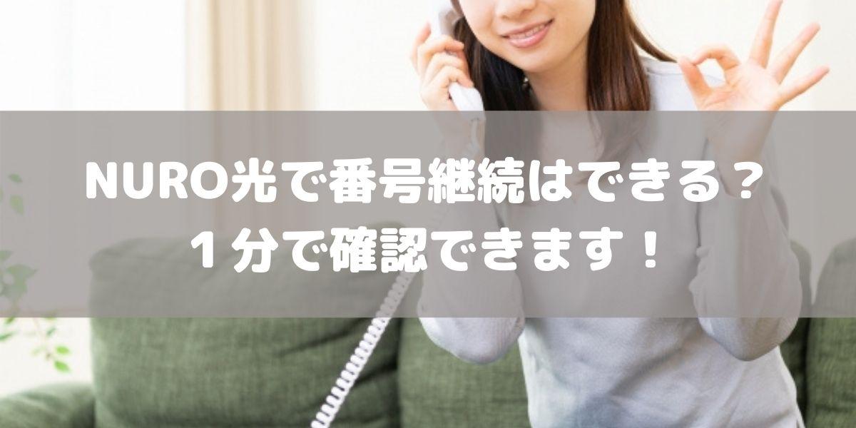 NURO光で固定電話の番号は継続できるの?1分で確認する方法があります!